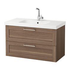 GODMORGON / ODENSVIK Sink cabinet with 2 drawers - walnut effect, 100x49x64 cm - IKEA