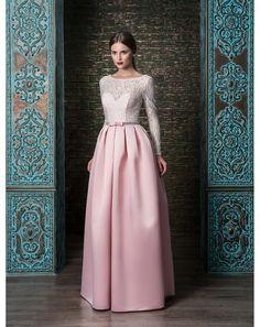c93a4a066f9d Dlhé spoločenské šaty so sukňou zo saténu - zvršok jemná biela čipka