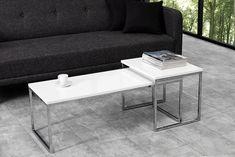 2er Set Couchtisch ELEMENTS 100cm Hochglanz weiß C | real Chrome Designs, Design Tisch, Petites Tables, Structure Metal, White Paneling, Living Room, Architecture, Furniture, Home Decor