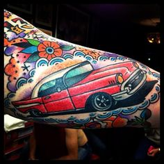 Great little traditional car tattoo