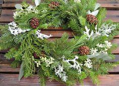 Christmas Wreath or Centerpiece - Woodland Winter Snow - Douglas-fir, Giant Sequoia, Dusty Miller & Eucalyptus on Etsy, $15.00