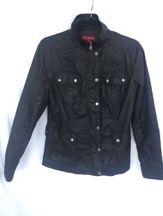 MERONA Womens Black Moto Motorcycle Jacket Full Zip & Button Snap Size Small  #Merona #Motorcycle #Casual