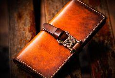 Handmade+leather+long+clutch+biker+trucker+chain+wallet+coffee+brown+leather+men+wallet