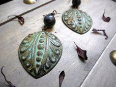 The Mayan Moons Earrings. Verdigris Tribal elements & Larvakite (Black Labradorite) Orb earrings.