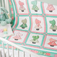 Make a nostalgic baby quilt that will surely please a new mother. The GO! Sunbonnet Sue (55061) die makes cutting a breeze and so accurate.