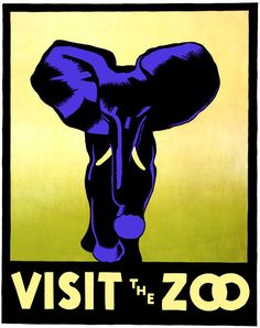 Visit the Zoo. This WPA Federal Art Project poster featuring an elephant to promote the zoo was designed by Hugh Stevenson of Philadelphia in 1937.