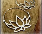 Silver Lotus Hoop Earrings ~ Like Tribal Fake Gauges ~ Layers with Eyelets Tunnels Grommets ~ Buddhist Symbol of Purity ~ Recovery
