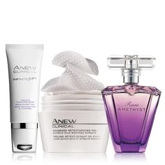 After a morning mini-facial, enjoy the mysterious and glamourous scent of violet with notes of plum and sandalwood. PLUS 5 free samples of Anew Reversalist Day Lotion Broad Spectrum SPF 25! An $80 value, the set includes:Rare Amethyst Eau de Parfum Spray – Chypre/fruity. 1.7 fl. oz. A $23 value.Anew Clinical Infinite Lift Targeted Contouring Serum – 1 fl. oz. A $35 value.Anew Clinical Advanced Retexturizing Peel – 30 unscented pads. A $22 value.