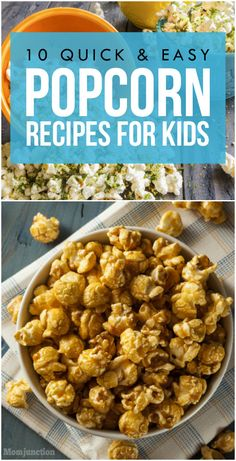 10 Quick And Easy Popcorn Recipes For Kids : If any of the above sounds like fun, get ready to pop it up with our delicious recipe ideas. Kids Popcorn Recipes, Healthy Popcorn, Popcorn Snacks, Baby Food Recipes, Easy Delicious Recipes, Quick Recipes, Yummy Food, Healthy Recipes, Healthy Food