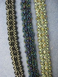 Peanut Bead Patterns | Three more samples. The light green bracelet has been embellished with ...
