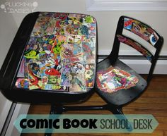 Superhero Comic Book Decorated Desk & Chair - But cabinets are not the only… Old School Desks, Old Desks, Vintage Comic Books, Vintage Comics, Decoupage Furniture, Diy Furniture, Painted Furniture, Comic Book Rooms, Hand Painted Chairs