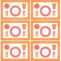 """Set of six lovelymanners Placemats covers the basics (""""Say PLEASE and THANK YOU"""") as well as more sophisticated advice (""""When you are FINISHED EATING, put your knife and fork on your plate at 4:20 o'clock""""). Each mat in the set is printed with four different reminders, using capslock type for extra emphasis and modern color schemes for extra style."""