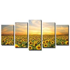 [Framed] Sunflowers Nature Landscape Canvas Art Prints Picture Wall Home Decor #WiecoArt #Expressionism