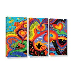 Hearts by Marina Petro 3 Piece Painting Print on Gallery Wrapped Canvas Set