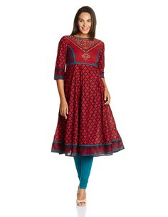 Vishudh Women's Cotton Straight Kurta (VNKU003072_Red and Plum_X-Large): Amazon.in: Clothing & Accessories