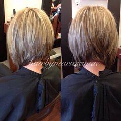 kurze gestapelte A-Linie Bob Haircut For Fine Hair, Bob Hairstyles For Fine Hair, Pretty Hairstyles, Short Hair With Layers, Layered Hair, Short Hair Cuts, Layered Bob Short, Medium Hair Styles, Short Hair Styles