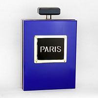 "• Style No : 254609  • Color : Gold / Black / Blue  • Size : 5"" W, 7 1/2"" L, 2 1/4"" T  • Strap Size : 24"" L  • Top Quality Resin / Magnetic Closure  • ""Paris"" Luxury Perfume Box Clutch"