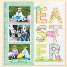 Easter scrapbook layout with big block letters. Love the giant Easter eggs! Bridal Shower Scrapbook, Baby Girl Scrapbook, Baby Scrapbook Pages, Scrapbook Cards, Scrapbook Cover, Picture Scrapbook, Friend Scrapbook, Christmas Scrapbook Pages, Halloween Scrapbook
