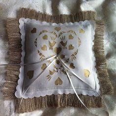 Burlap ring bearer pillow with a dupion silk panel under a laser cut love birds design. BaloolahBunting on Etsy #wedding #ringpillow #ringbearer #rustic #wedding