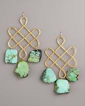 NM $275  •18-karat yellow gold-plated brass.  •Open knotted design with hammered texture.  •Rough-cut, naturally variegated green turquoise drops.  •14-karat yellow gold-fill wire backs.