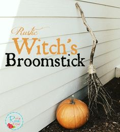 Make your own Rustic Witch's Broomstick for zero cost! #halloweendecor #rusticdecor #halloweencrafts #halloween