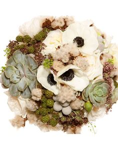 succulent wedding bouquets | Eco-friendly bridal bouquet of anemoones, succulents and clouds of ...