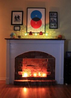 """""""Fake"""" fireplace... use the bricks from grandma's old house!"""