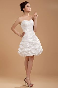 Whole Sweetheart Ruffle Knee Length Mini Bridal Gown Wedding Dress Graduation Plus Size