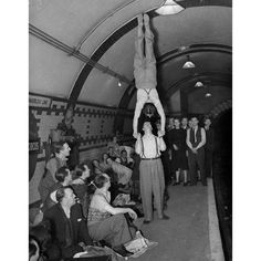 Music hall performers in an air raid shelter, London WWII