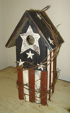 Red, White & Blue - Americana flag birdhouse with grapevine twisted around the birdhouse