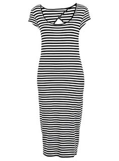 Stripe Cutout Midi Dress - Day Dresses - Dresses - Dresses  - Clothing