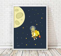laminas espacio cohete infantil cuadro cohete por Ilustracionymas