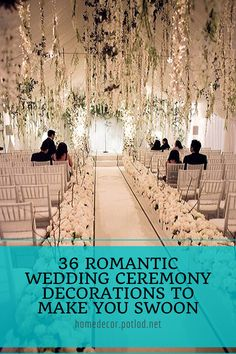 All white wedding hanging flowers winter wedding aisle Wedding Aisles, Indoor Wedding Ceremonies, Wedding Entrance, Wedding Tips, Wedding Venues, Trendy Wedding, Wedding Themes, Budget Wedding, Wedding Planning
