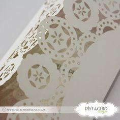Doiley Wedding invitation Elegant Invitations, Wedding Invitations, Paper Products, Pistachio, Design, Home Decor, Pistachios, Decoration Home, Room Decor