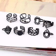 8Pcs Exquisite Rhinestone Leaves Diamond Knuckle Rings
