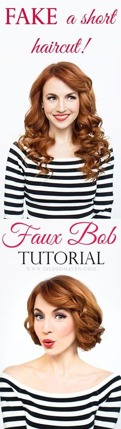 What a great idea! Gotta pin this. Sometimes I just want short hair without the commitment! This is PERFECT! #fauxbob #tutorial