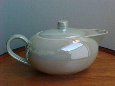 Vintage Swid Powell mint green lustre teapot.
