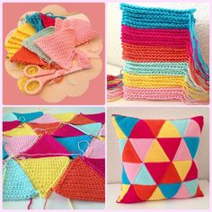 CROCHET PILLOWS - triangle cushion - TO MAKE. i think i might need to learn how to crochet. patterns just seem so much easier than knitting! Crochet Home, Love Crochet, Crochet Crafts, Crochet Yarn, Crochet Stitches, Cushions To Make, Crochet Cushions, Crochet Pillow, Patchwork Pillow