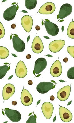 Seamless pattern whole and sliced avocado on white background, Vector illustration - Vector Pastel Wallpaper, Cute Wallpaper Backgrounds, Wallpaper Iphone Cute, Aesthetic Iphone Wallpaper, Cute Wallpapers, Aesthetic Wallpapers, Food Patterns, Print Patterns, Vector Pattern