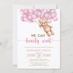 Pink Bear with Balloons Teddy Bear Baby Shower Invitation Baby Girl Shower Themes, Baby Shower Invites For Girl, Baby Shower Games, Baby Boy Shower, Baby Showers, Pink Balloons, Baby Shower Balloons, Baby Bash, Baby Girl Shirts