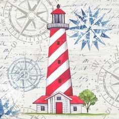 Lighthouse 3 Red Stripe by Elena Vladykina | Ruth Levison Design