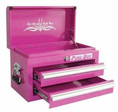 I WANT ONE OF THESE pink tool boxes!