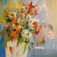An abstract painting that didn't work turned upside down. It is now a loose colorful 36 x 36 oil floral painting.