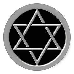 Silver Star of David Round Sticker