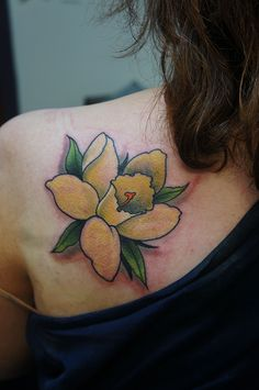 Flower tattoo ideas for women exact match, but that we will discuss is the daffodil. Daffodil is not just any flowers Flower Tattoo Designs, Flower Tattoos, Daffodil Tattoo, Daffodils, Tatting, Body Art, Ink, Tattoo Ideas, Artist
