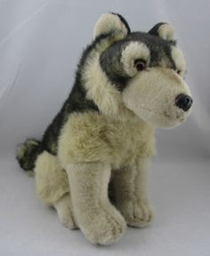 Jaag Tan and Black Plush Huskie Dog Stuffed Sitting Animal Beautiful Soft Toy | eBay