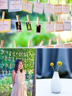 As guests take their seating cards, replace with polaroid pic #wedding #nestledown #yellow