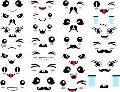 Kawaii Faces -Digital Clip Art Graphics Personal/ Commercial Use