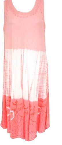 Coral Pink Embroidered Tie Dye/Ombre Dress/Cover Up Sundress 2X #RayaSun #Sundress #SummerBeach