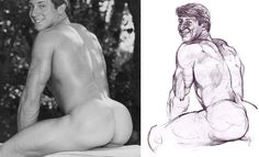 """sperminherman: """" The incredibly beautiful Buzz Corbett (left; 2 of and an interpretation of Buzz by Harry Bush. In my opinion, while Harry is one of my all-time fave beefcake artists, this is one of his absolute worst pieces. Harry seemed to have."""